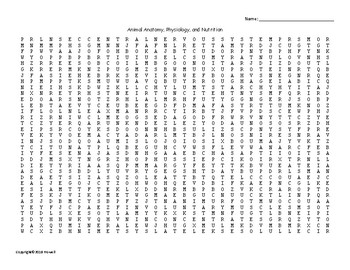 Animal Anatomy, Physiology and Nutrition Word Search for Ag. Science Students