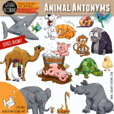 Animal Antonyms - Opposites - Adjectives Clip Art