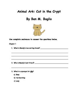 Animal Ark: Cat in the Crypt By Ben M. Baglio Comprehension Packet
