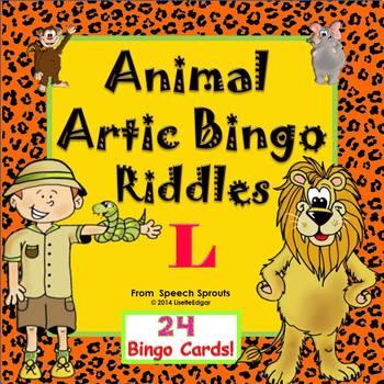 Articulation and Listening- Animal Bingo Riddles L