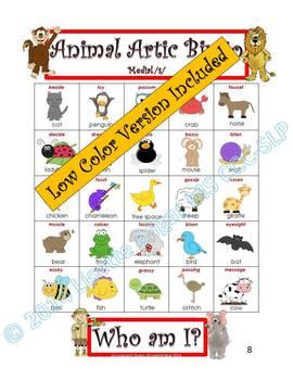 Articulation and Listening- Animal Bingo Riddles S