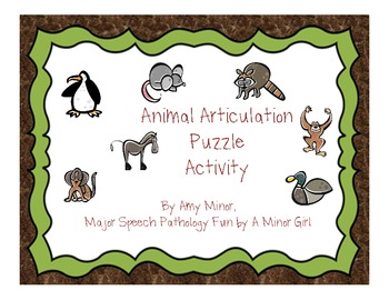 Speech Therapy: Animal Articulation Puzzle Activity