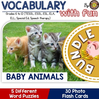 Baby Animals Photo Flash Cards and Vocabulary Puzzles BUNDLE