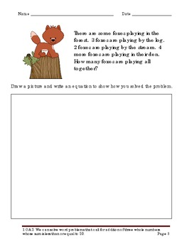 Animal Babies Addition Word Problems with Three Addends for First Grade