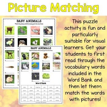 Baby Animals Vocabulary Matching Puzzles