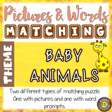 Baby Animals ESL Activities Picture and Definition Matching Puzzles