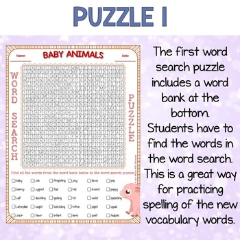 Baby Animals Word Search Puzzles