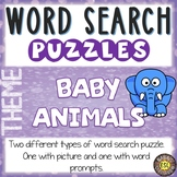 Baby Animals ESL Activities Word Search Puzzles