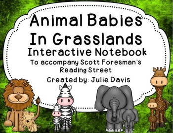 Animal Babies in Grasslands Interactive Notebook Journal