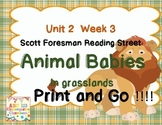 Animal Babies in Grasslands - Print and Go  Unit 2 Week 3 Reading Street