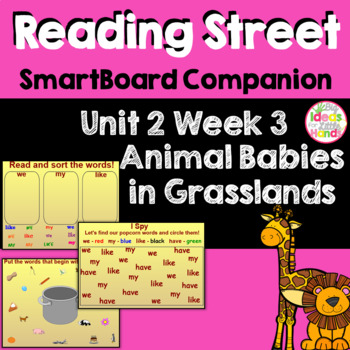 Animal Babies in Grasslands SmartBoard Companion Kindergarten