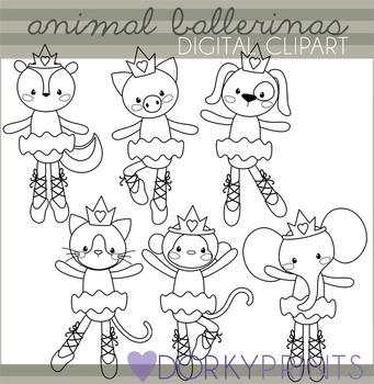 Animal Ballerina Black Line Clip Art