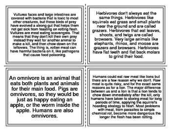 Animal Basic Needs Picture Match Task Cards (28 Cards)