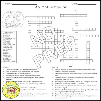 animal behavior crossword puzzle by teaching tykes tpt. Black Bedroom Furniture Sets. Home Design Ideas