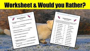"Animal Behavior No Prep Lesson w/ Power Point, Worksheet and ""Would you Rather?"""