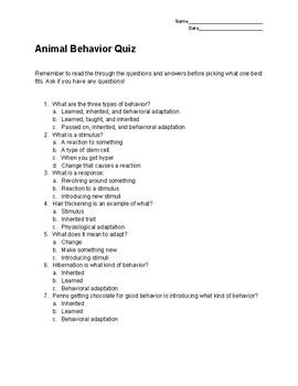 Animal Behavior Quiz