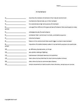 Animal Behavior Vocabulary Quiz or Worksheet for Zoology