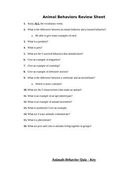 Animal Behaviors Assessment (Quiz)