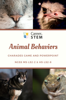 Animal Behaviors 5E Lesson, Charades Game, and Powerpoint