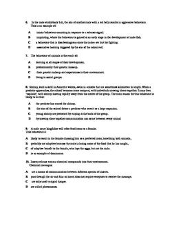 Animal Behaviour Written Test - Senior Biology