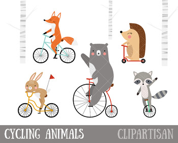 Bicycle Clip Art | Woodland Animals