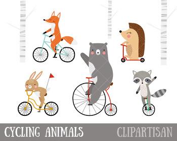 Bicycle Clip Art   Woodland Animals