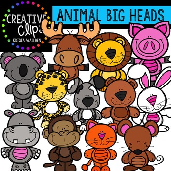 Animal Big Heads {Creative Clips Digital Clipart}