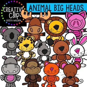 Animal Big Heads {Creative Clips Digital Clipart}