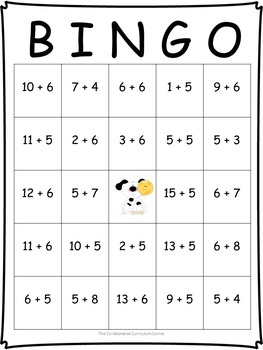 Animal Bingo: Addition Facts for 5's and 6's