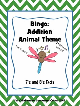 Animal Bingo: Addition Facts for 7's and 8's