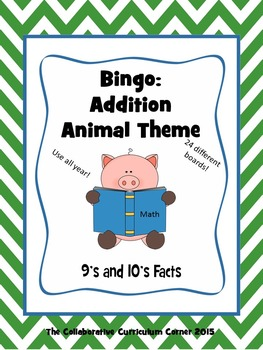 Animal Bingo: Addition Facts for 9's and 10's