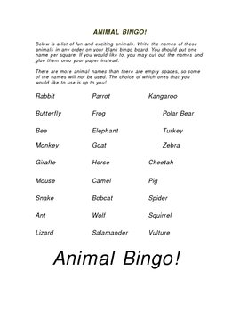 Animal Bingo! Includes student page, bingo board and calling cards!