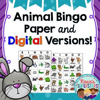 Animal Bingo: Printable and Digital Versions!