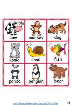 Animal Bingo for ESL / EAL /  ELL