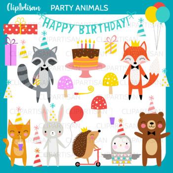 Animal Birthday Party Clipart by ClipArtisan | Teachers ...