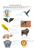 Animal Body Parts - A Printable Worksheet