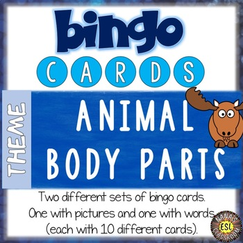 Animal Body Parts Printable Bingo Cards