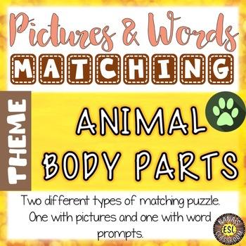Animal Body Parts Vocabulary Matching Puzzles