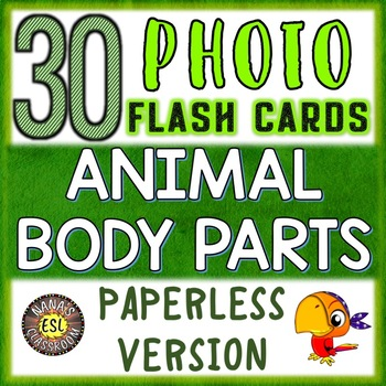 Animal Body Parts Paperless Photo Flash Cards