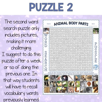 Animal Body Parts Word Search Puzzles