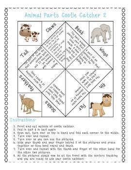Animal Body Parts Vocabulary Cootie Catcher!