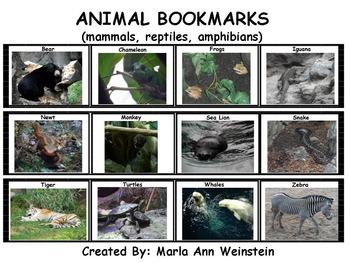 Animal Bookmarks (mammals, reptiles, amphibians)