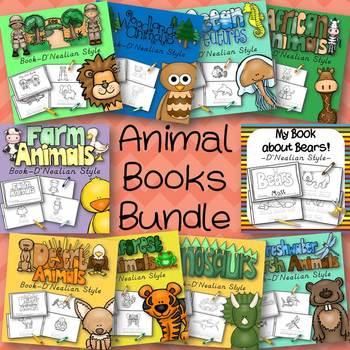 Animal Books Bundle for Kindergarten and 1st Grade D'Nealian Print Style
