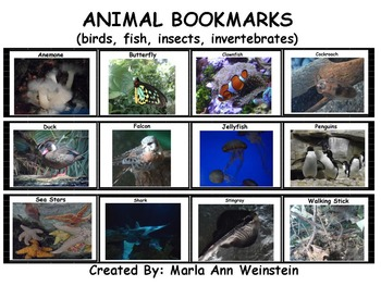 Animal Bookmarks (birds, fish, insects, invertebrates)