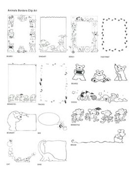 Animal Borders Clip Art: 14 Black & White Images for Creative Use