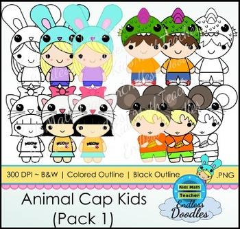 Animal Cap Kids (Pack 1) Kids Clipart! Original and fun! 300 DPI PNG files