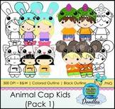 Animal Cap Kids (Pack 1) Kids Clipart! Original and fun! 3