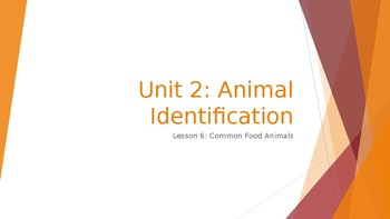 Animal Care Assistant - Animal Identification - Common Food Animals