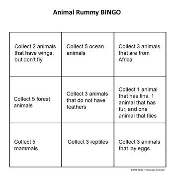 Animal Categories Rummy - Spanish Edition