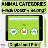 What Doesn't Belong Animals in Categories Digital and Printable Activity